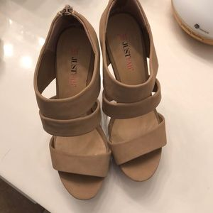 Nude platform wedges for sale! Worn once!